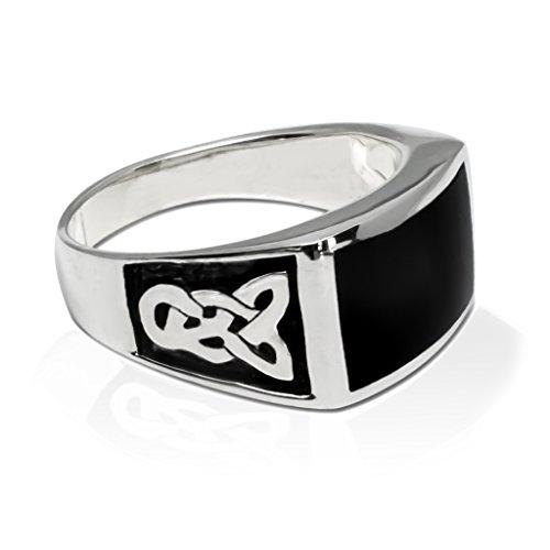 (925 Sterling Silver Men's Celtic Knot Rectangular Black Onyx Ring (12))