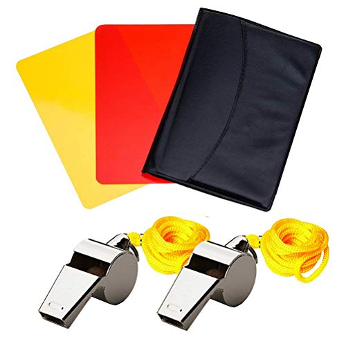 Pengxiaomei Referee Kit, Sports Referee Card Set Metal Referee Whistles with Lanyard Coach Whistles with Red Card Yellow Card for Football Soccer