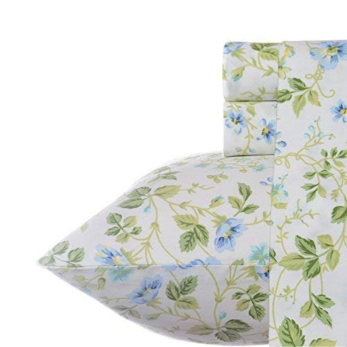 (Laura Ashley Spring Bloom Pillowcase Sheet Set Queen Periwinkle)
