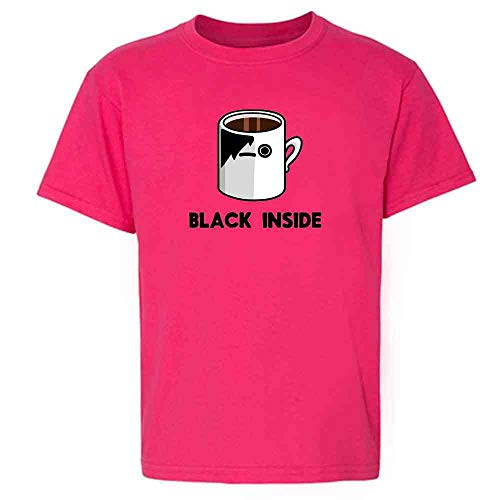 Emo Coffee Black Inside Funny Pink XL Youth Kids T-Shirt