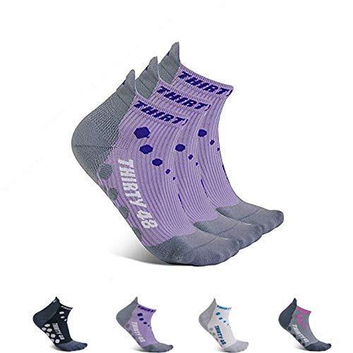 Thirty 48 Compression Low-Cut Running Socks for Men and Women (Small - Women 5-6.5 // Men 6-7.5, [3 Pairs] Purple/Gray) by Thirty 48 (Image #8)