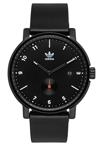 Adidas Watches District_LX2. Premium Horween Leather Strap, 20mm Width (All Black/White/Orange. 40mm). ()