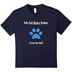 Kids My Cat Hates Trump. I Love my Cat! Funny Anti-Trump T-shirt 12 Navy