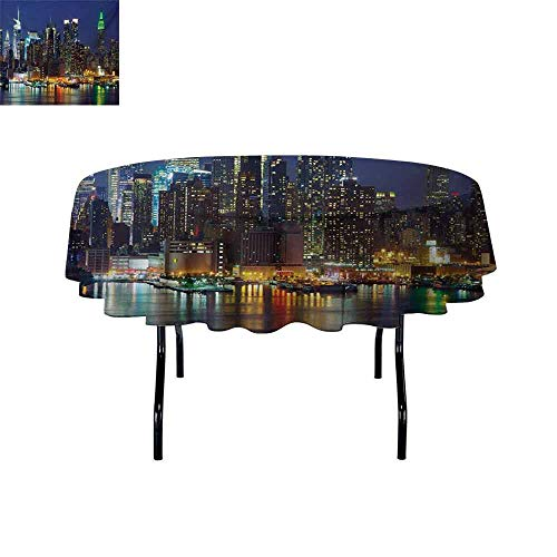 Curioly New York 3D Printed Round Tablecloth NYC Midtown Skyline in Evening Skyscrapers Amazing Metropolis City States Photo Desktop Protection pad D59 Inch Royal Blue