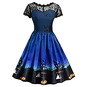 BELLEZIVA Womens Halloween Vintage Dress Lace Insert Pumpkin Print Short Sleeve Party Swing Gown