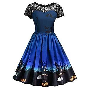 BELLEZIVA Womens Halloween Vintage Dress Lace Insert Pumpkin Print Short Sleeve Party Swing Gown