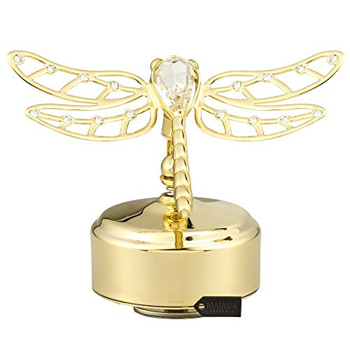 Matashi 24K Gold Plated Music Box with Crystal Studded Dragonfly Figurine | Best Love Gift for Valentine's Day, Birthday, Mother's Day, Christmas, Anniversary
