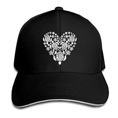 Women's/Men's Sea Turtle Heart Adult Adjustable Snapback Hats Peaked Cap Black