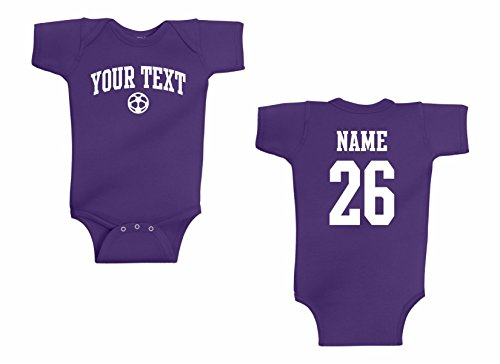 Infant Onesie Custom Personalized, Soccer Arched Text, Back Name & ()