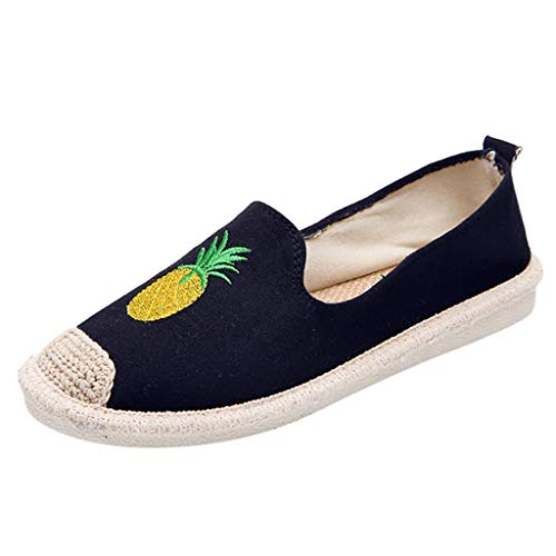 Goddessvan Women's Casual Canvas Pineapple Print Slip On Round Toe Low Heels Shallow Work Fisherman Shoes Black