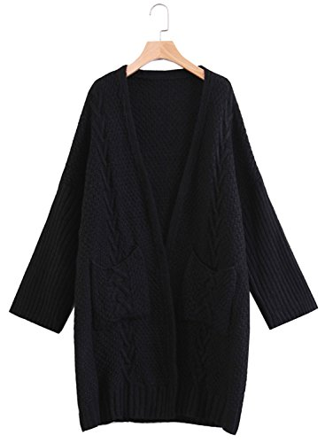 Futurino Women's Baggy Open Front Cable Knit Cardigan Sweater With Pockets