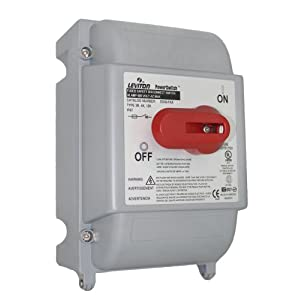Leviton DS30-FAX 30 Amp, 600 Volt, Fused Safety Disconnect Switch, 3 Pole, IP67, Watertight, Gray