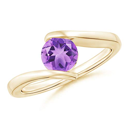 Bar-Set Solitaire Round Amethyst Bypass Ring in 14K Yellow Gold (6mm Amethyst) - Gold Amethyst Bypass Ring