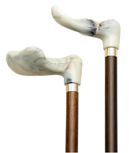 Walking Cane-White marbleized right hand. This wooden cane has a palm grip molded handle good for those with arthritis problems. This walking stick cane has a 36 inch long hardwood shaft. This walking aid hast a weight capacity of 250 pounds. by King Of Canes