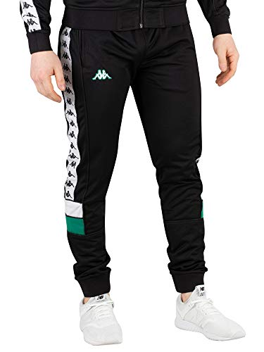 Kappa Mens 222 Banda Mems Retro Slim Track Pants Black/Green/White L