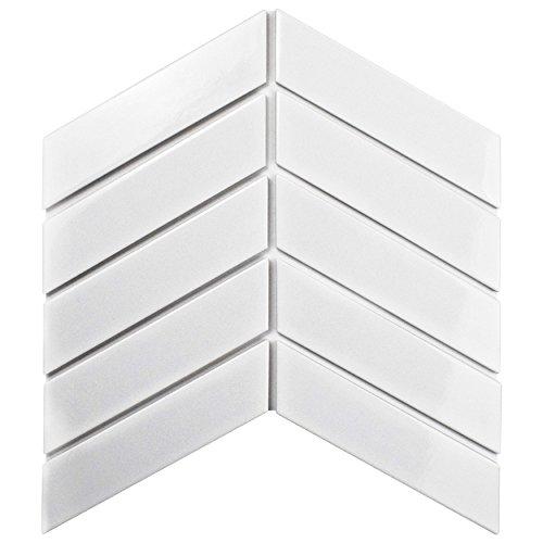 SomerTile FMTSHCGW Retro Soho Chevron Porcelain Floor and Wall Tile, 1.75