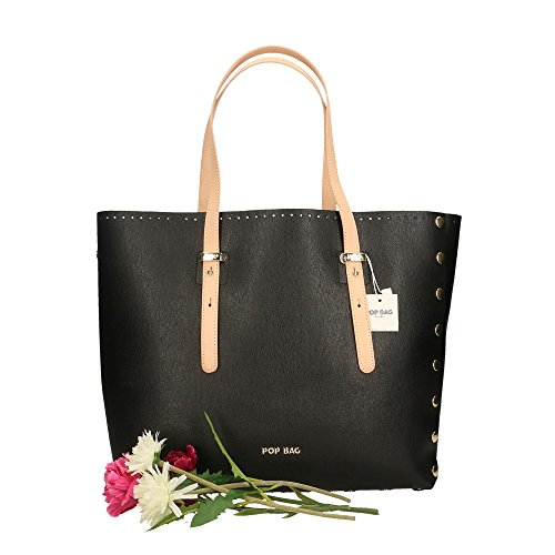 34x31x15 Bags à Noir Sac Saffiano en Italy in Noir Vacch Made cuir femme Cm main Impression POP véritable O4UwqO