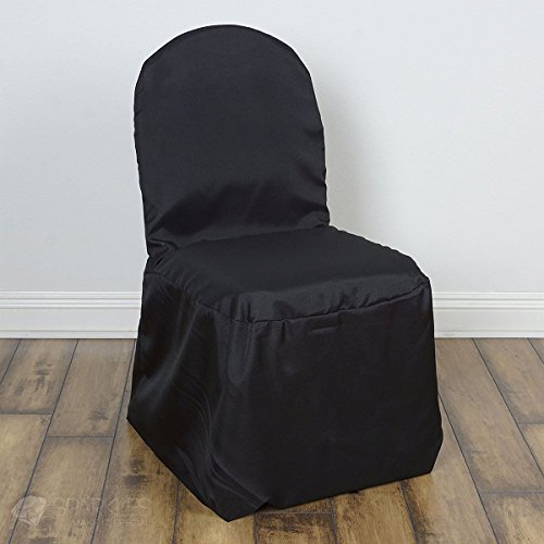 Sparkles Make It Special 20 pc Polyester Banquet Chair Covers - Wedding Reception Banquet Party Restaurant Universal Fitted - Black by Sparkles Make It Special