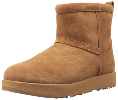 UGG Women's Classic Mini Waterproof Snow Boot, Chestnut, 7 M US
