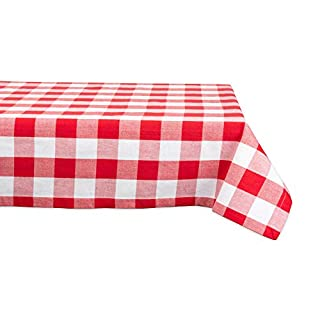 DII Classic Buffalo Check Tabletop Collection for Family Dinners, Special Occasions, Barbeques, Picnics and Everyday Use, 100% Cotton, Machine Washable, Tablecloth, 60x84, Red & White