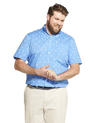 IZOD Men's Big and Tall Breeze Short Sleeve Button Down Plaid Shirt, Blue Revival, Large Tall ()
