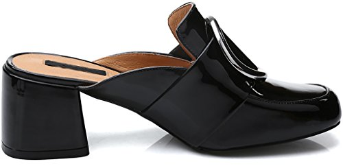 Calaier Womens Canecessary Closed-Toe 6CM Block Heel Slip-on Mule Shoes Black 2jpBbgFeJ