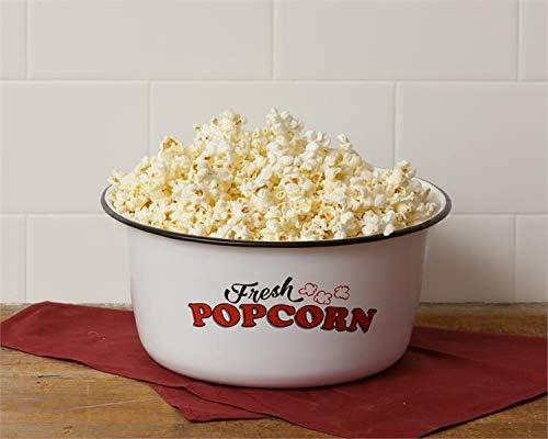 Vintage Enamel Popcorn Bowl Serve Snack Dish Set of Two Small