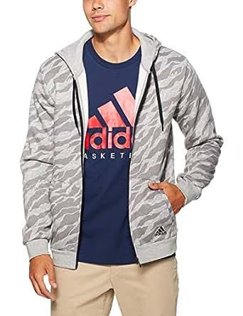 adidas Men's CY6313 Essentials AOP Full Zip Hoodied Jacket, Medium Grey Heather, M