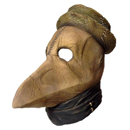 Deluxe Black Plague Death Doctor Peste Latex Mask Halloween Costume (Black Death Doctor Costume)