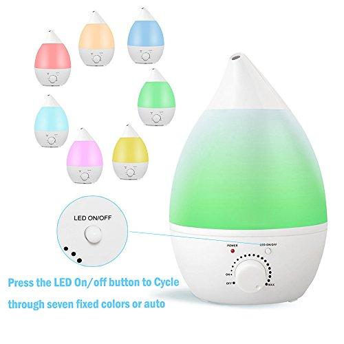 Humidificador de niebla fría, Bengoo humidificador ultrasónico difusor de aceite Aroma para hogar dormitorio oficina Babyroom(1.3L)