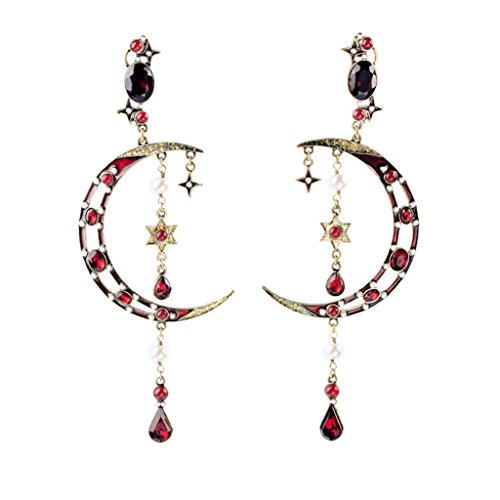Fit&Wit Exaggeration Popular Resin Rhinestone Crystal Moon Stars Imitated Crystal Gem Statement Earring