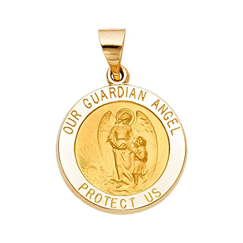 TGDJ 14k Yellow Gold Religious Our Guardian Angel Pendant by Top Gold & Diamond Jewelry