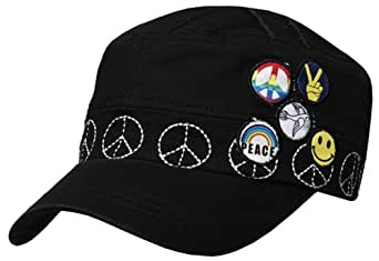 EH0311DC - Unisex 100% Cotton Embroidered Peace Symbol Army Military Cadet Hat / Cap - Black/One Size