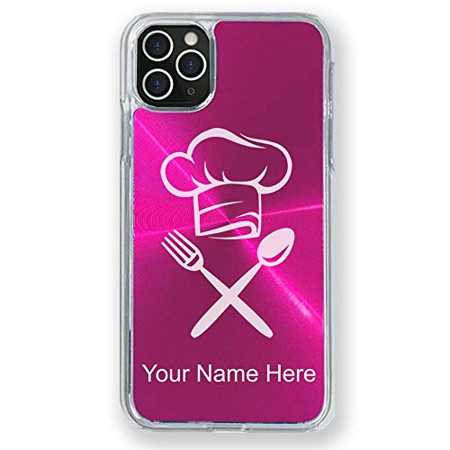 Case Compatible with iPhone 11 Pro, Chef Hat, Personalized Engraving Included (Pink)