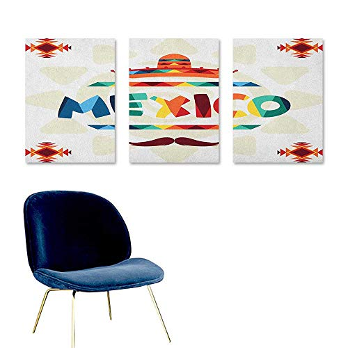Mexican Printing Oil Painting Mexico Traditional Aztec Motifs and Sombrero Straw Hat and Moustache Graphic Print Contemporary Abstract Art 3 Panels 16x31inch -