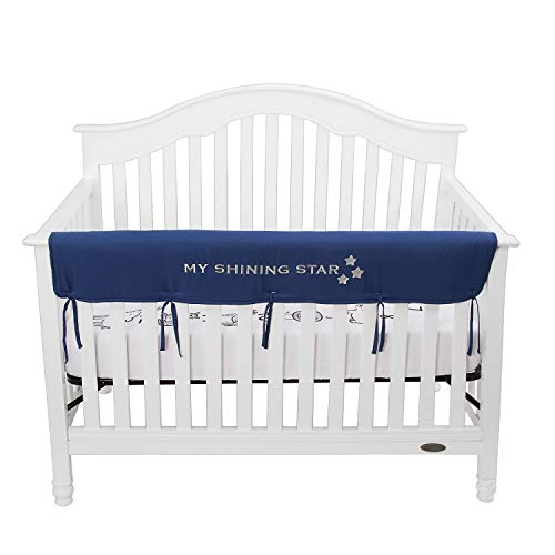 - TILLYOU Personalized Padded Baby Crib Rail Cover Protector Safe Teething Guard Wrap for Long Front Rails 100% Silky Soft Microfiber Polyester - Embroidered and Reversible - Navy Blue, My Shining Star