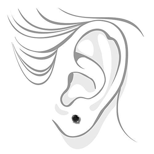 Or blanc 14carats 0,33carats Noir Coupe ronde Diamant Boucles d'oreilles 4griffes