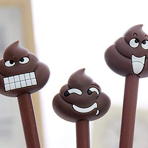 Pack of 8 Kawaii Cartoon Shit Poop Emoji Design Gel Ink Rollerball Pens Encourage Gifts for the Students,Black 0.38mm Funny School Stationery Office Supplies(8PCS) by CHengQiSM
