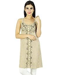 Women Beach Dress Embroidered Short Length Rayon Summer Sundress