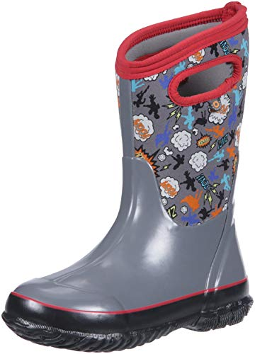 Bogs Classic High Waterproof Insulated Rubber Neoprene Rain Boot Snow, Super Hero Gray Multi, 4 M US Big Kid