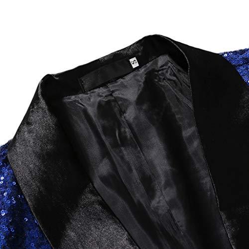 Per Fit Uomo Abiti Festa Blu Tasche Bottoni Matrimonio Un Con Elegante Mambain Giacca E Classico Affari Paillettes Giacche Cerimonia Blazer Slim Pf5wZq