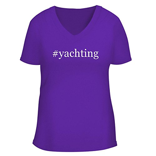 BH Cool Designs #Yachting - Cute Women's V Neck Graphic Tee, Purple, XX-Large ()
