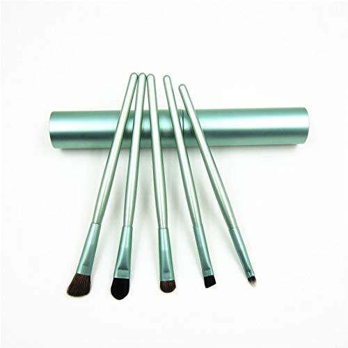 SIUONI Aluminum Tube 5 Eye Makeup Brush Portable Horse Hair Eye Shadow Brush Single Detail Brush Eye Shadow Brush Makeup Brush (Green)