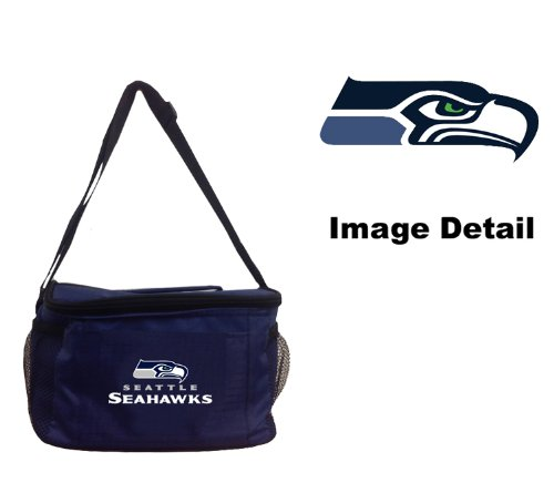 Seattle Seahawks NFL Team Logo 6-Sports Drink Beer Water Soda Beverage Can Insulated Picnic Outdoor Party Beach BBQ Kooler Cooler Lunch Bag Tote - 6-Pack Bag (Seattle Lunch Seahawks)