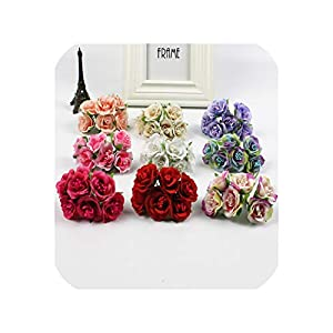 6Pcs/Lot 3Cm Silk Rose Stamen Artificial Bouquet for Scrapbook Decoration DIY Art Flower 31