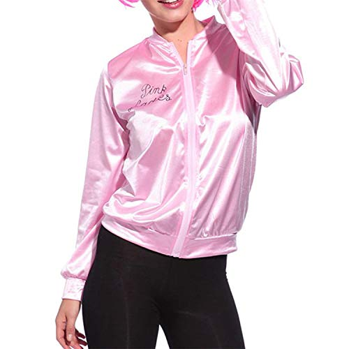 Yuxikong Retro 50s Grease Pink Lady Sweetie Jacket Hen Party Dance Costume Fancy Dress (Pink, XL)