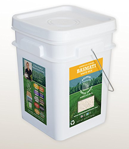 Artisanal Basmati White Rice, 25 lb pail, Sustainably Grown in the U.S.A, Farm to Table Experience