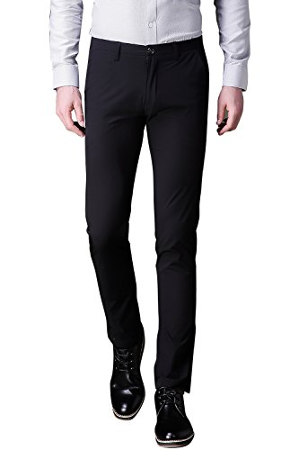 Taliare Men's Formal Flat Front Work Wear Slim Fit Tapered Suit Pant