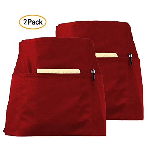 CLOCOR 2 Pack Waist Apron for Men Women - Waitress Waiter Aprons with 3 Pockets, 65% Poly / 35% Cotton, 24 X 12 inch Red Short Apron for Restaurant Home Kitchen Cooking Cleaning Stylist Garden