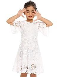 Flower Girls White Lace Vintage Wedding Party Princess Dress First Communion Dress